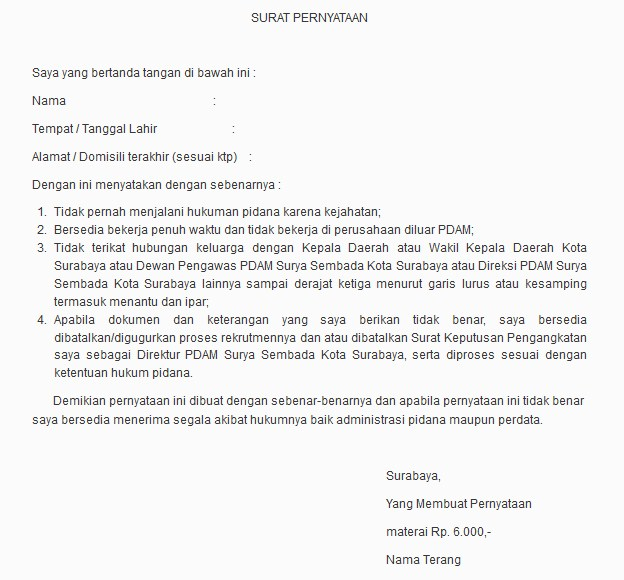 Contoh Surat Pernyataan Informasicpnsbumn.com